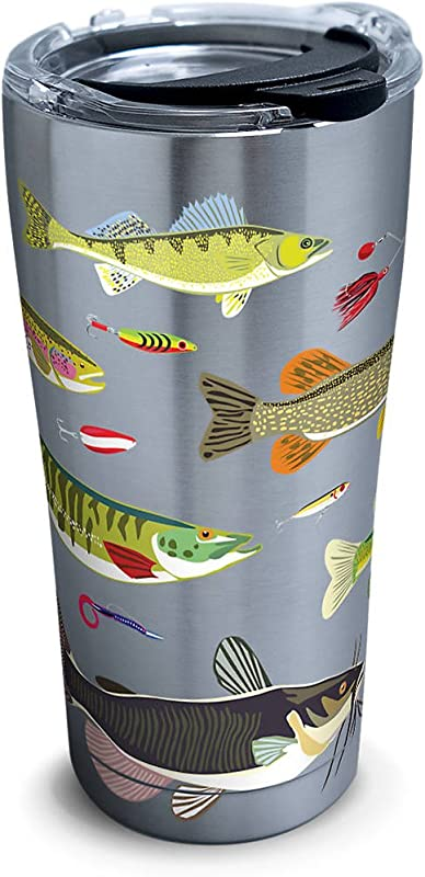 Tervis 1261365 Freshwater Fish And Lures Stainless Steel Tumbler With Clear And Black Hammer Lid 20oz Silver