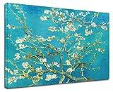 GRAFIC Cuadro Van Gogh Rama de la Flor de Almendra-Van Gogh Rama de Flor de Almendro Marco Lienzo (Cuadro con Marco DE Madera, CM 60X47)