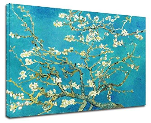GRAFIC Cuadro Van Gogh Rama de la Flor de Almendra-Van Gogh Rama de Flor de Almendro Marco Lienzo (Cuadro con Marco DE Madera, CM 40X50)