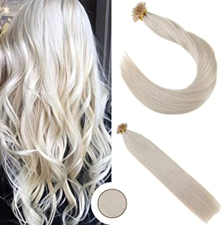 Ugeat U Tip Human Hair Extensions 14inch 50strand Pre Bonded Fusion Hair Solid Color #60 Platinum Blonde 50g Nail Tip Extensions Remy Human Hair