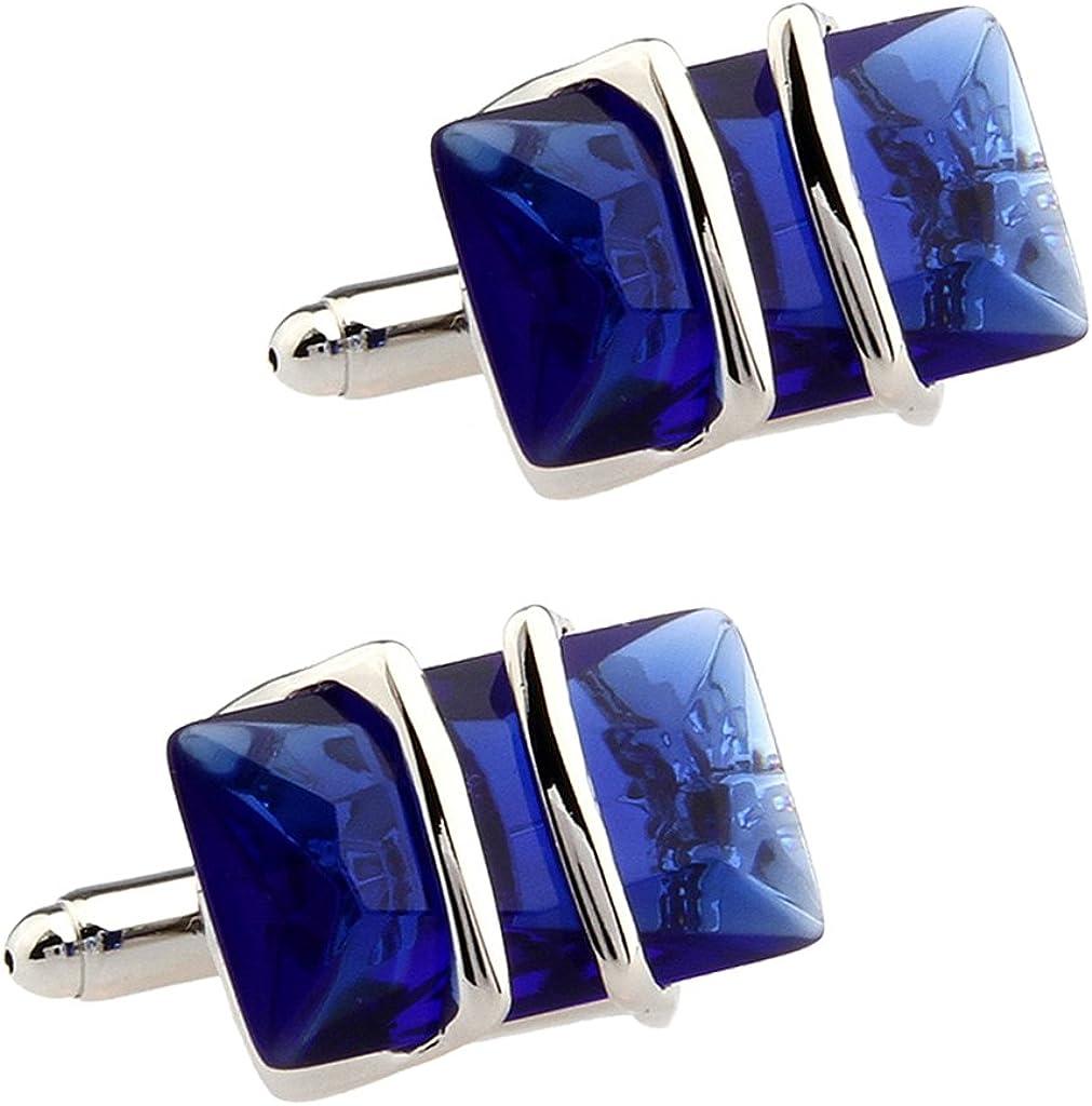 AMLESO Men Blue Crystal Charm Cufflinks for Shirt Wedding Festival