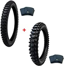 MMG Tire Set Off Road Knobby Front Tire Size 80/100-21 with Inner Tube and Rear Tire Size 120/90-19 with Inner Tube