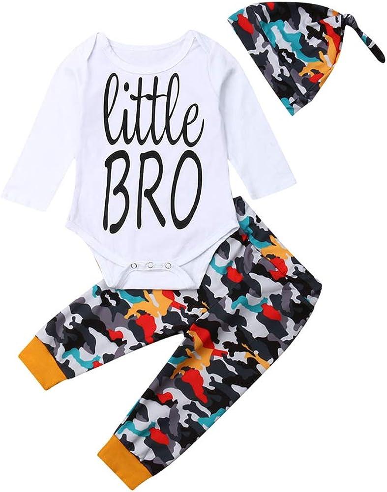 3PCS Newborn Baby service Boys Cute Print NEW Pants Letter Romper+Camouflage