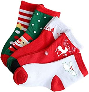 Losuya, 5 pares de calcetines de algodón para niños de Navidad, suaves, cómodos