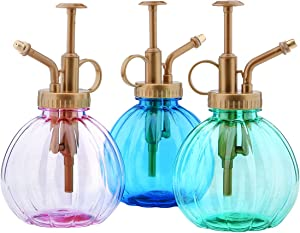 Yebeauty Plant Mister, Vintage Style Watering Spray Bottle Watering Can Indoor with Top Pump, Pack of 3, Blue,Green,Pink