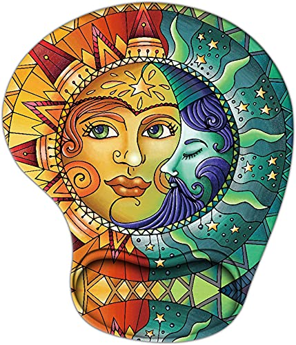 Creative Mouse Pad with Wrist Support, Ergonomic Gaming Mousepad Non-Slip Soft Sensitive Material, Sun Moon Face Mouse Pads as Home Office Desktop Accessories or Ideal Gift