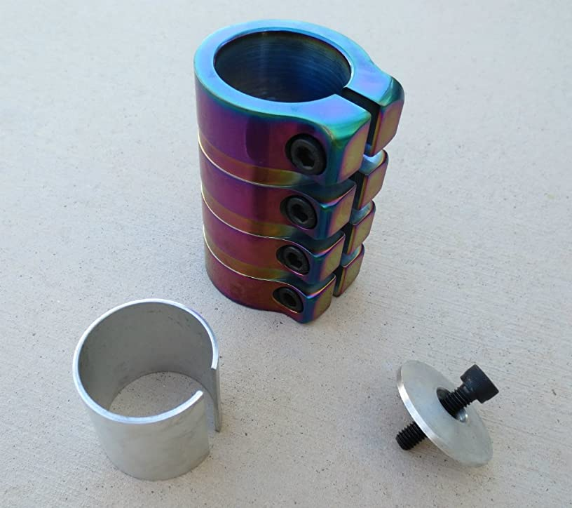 DropIn Scooters SCS Scooter Clamp 4 Bolt Rainbow Metallic (Oil Slick, neo Chrome)