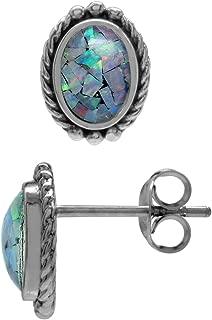 Silvershake Mosaic Opal 925 Sterling Silver Rope Stud Post Earrings