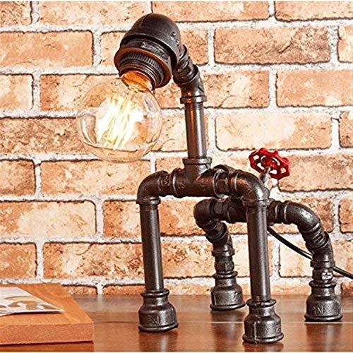 BICCQ Lámparas de mesa Vintage Rústico Steampunk Lámpara de mesa, lámparas de escritorio de tubería de agua para bar, club, dormitorio, sala de estar, hotel, cafetería altura 33 cm (color: plata negra