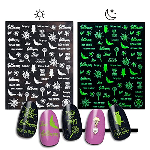 1/8pcs Glow in The Dark Halloween Nail Sticker,3D Self-Adhesive Pumpkin Monster Nail Art Decals Nail Foil Tips,Nail Art Design Manicure DIY Nail Decoration for Halloween Party (F-1PCS)