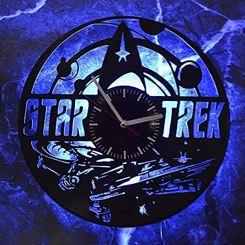 YQCX Star Trek Wall Night Night Light Vinyle Enregistrer Rétro Horloge Murale Nouvel an Christmas Anniversaire Cadeau Personnalité Creative Home Design Décoration Murale dessin anim