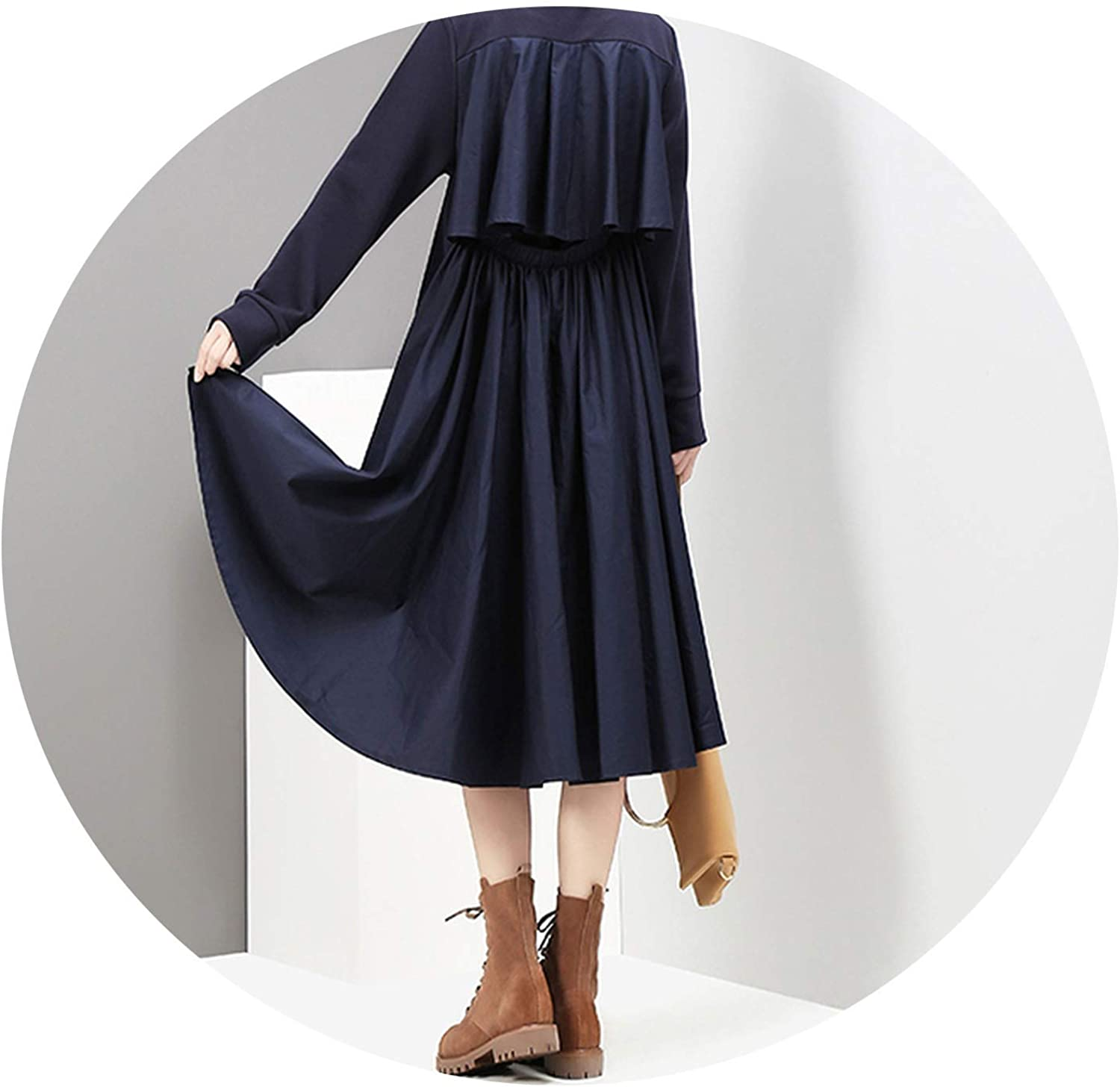 AllAboutUs Women Navy Midi Straight Dress O Neck Long Sleeved Casual Wear Dress Robe 2917