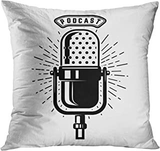 Peyqigo Throw Pillow Cover 18x18 Inch Podcast Retro Microphone Isolated On White Polyester Square Cushion Bedroom Couch Sofa Car Decorative Pillowcase