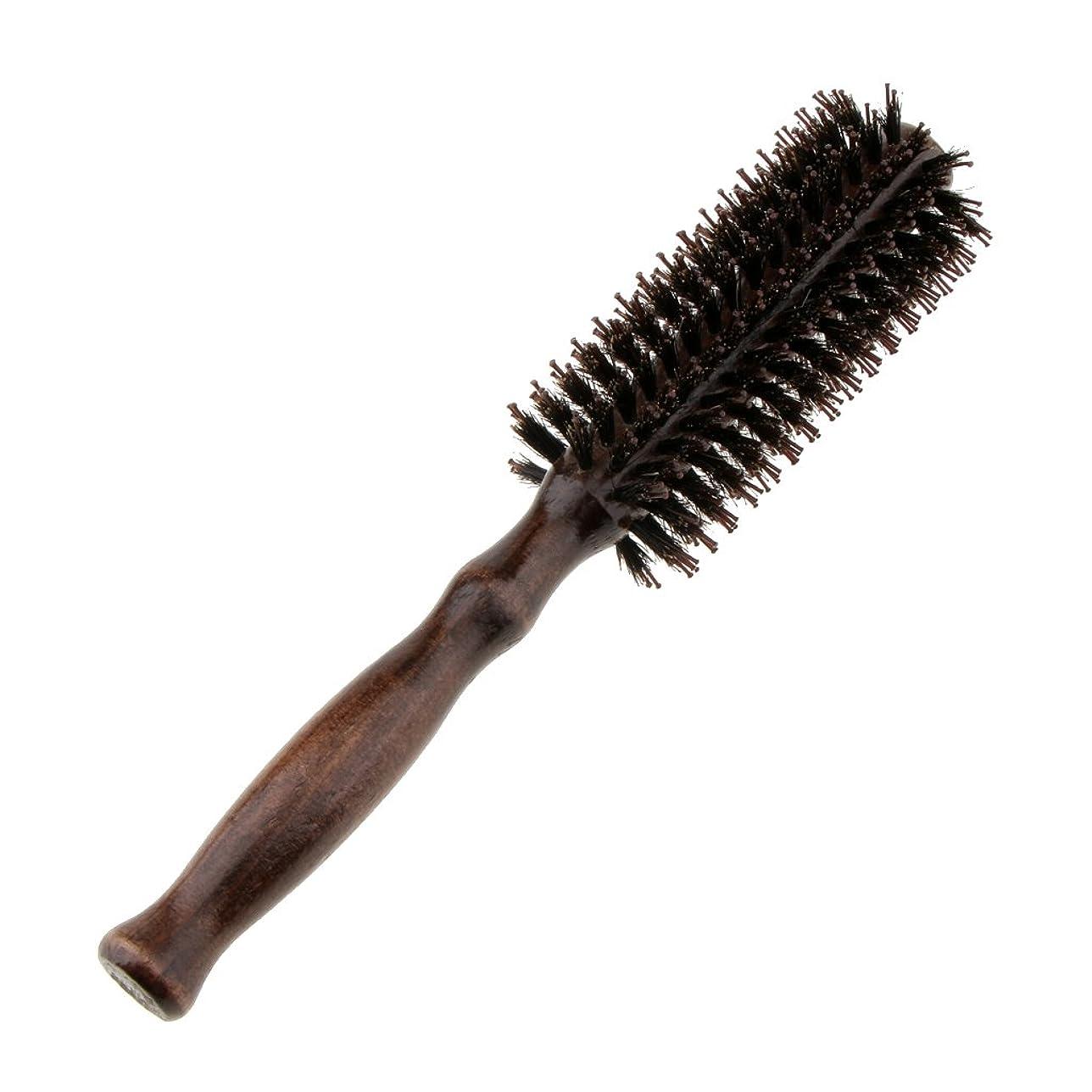 奨励しますバー心理学Homyl ロールブラシ ヘアブラシ ラウンド ウッド ハンドル 理髪 美容 カール 2タイプ選べる - #1