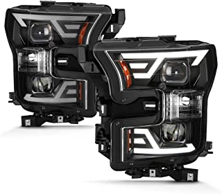 ACANII - Black Upgrade Style LED DRL Tube Projector Headlamps For 2015-2017 Ford F150 Halogen (Non-LED) Headlights