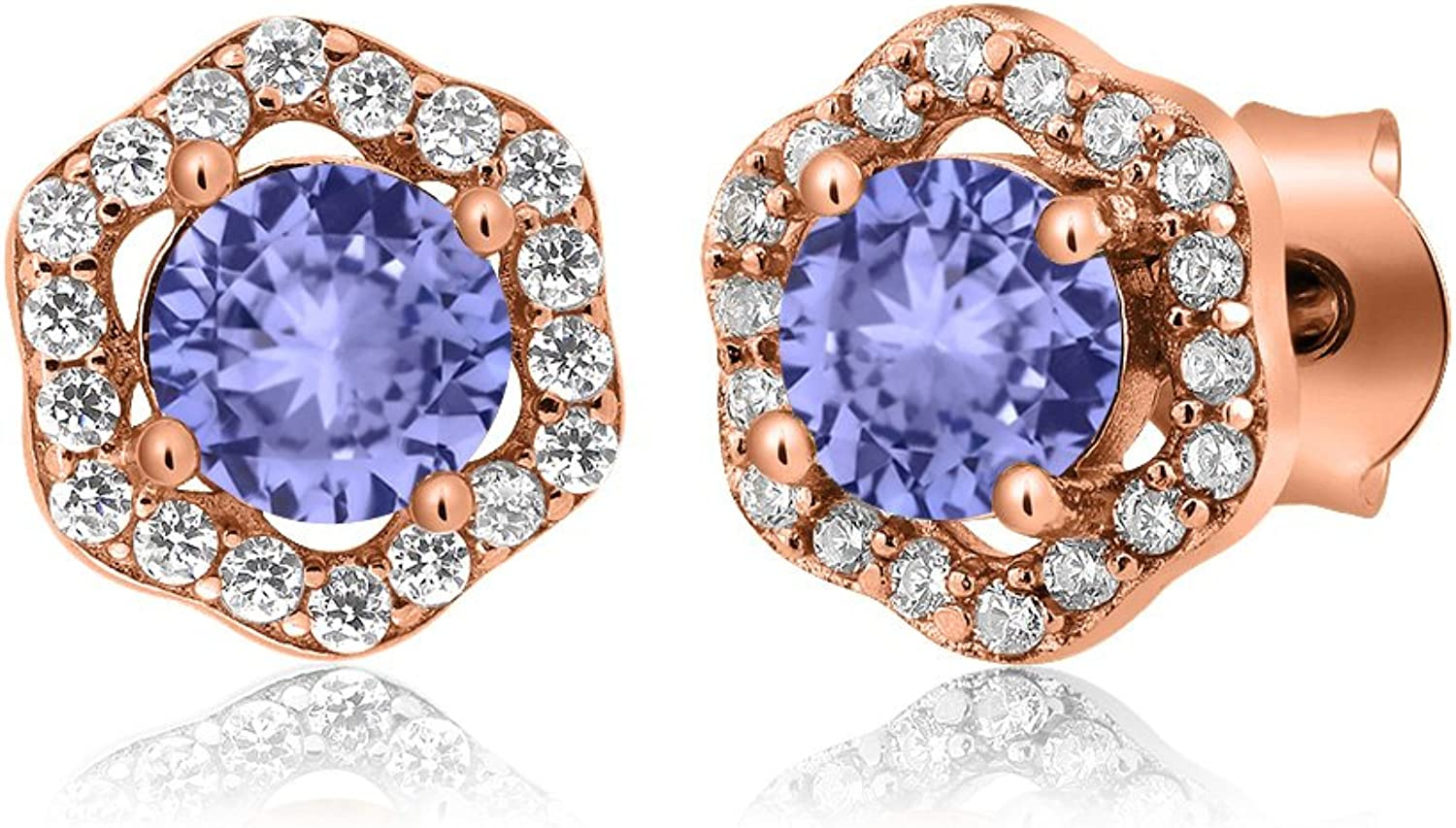 1.28 Ct Round bluee Tanzanite 18K pink gold Plated Silver Earrings