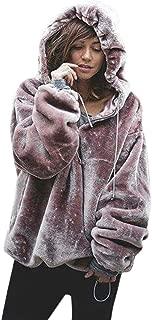 Hooded Sweatshirt Womens Fluffy Sweater Warm Outwear Long Sleeve Oversize Coat ANJUNIE