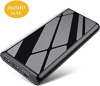 【2020進化版】モバイルバッテリー 26800mAh 大容量 急速充電 2USB出力ポート LED残量表示 軽量 スマホ充電器 鏡面仕上げデザイン 旅行/出張/緊急用 PSE認証済