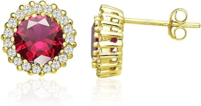 Sterling Silver Simulated Ruby and Cubic Zirconia Round Halo Stud Earrings