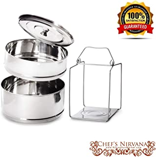 Ultra ORIGINAL LARGEST Stackable 2 Tier Stainless Steel Cooker Separator Steamer Pressure Cooker Insert Pans to make Healthy, Fast and Delicious Meals (Renewed)