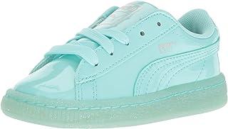 PUMA Kids' Basket Patent Iced Glitter Inf Running Shoe