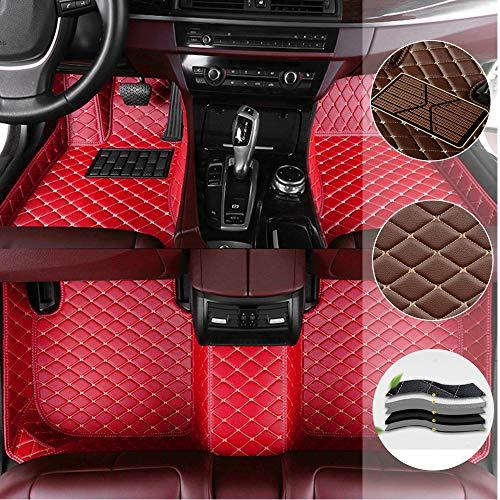 saitake Auto-FußmattenFür C hevrolet Camaro SS 2010-2015 rutschfesteAbnutzungBodenmatten VolldeckungwasserdichteLederAutoteppicheAntiRutschfürLinkslenker Rot