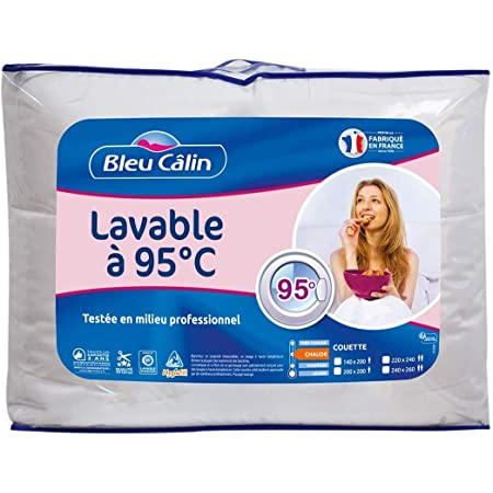 Bleu Câlin Couette 2 Personnes, Lavable A 95° Hygiafill, Testée en milieu professionnel, Blanc, 220x240cm, KBOB40