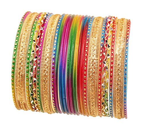 Touchstone Wunderschöne Regenbogen Armreif Collectionindian Bollywood Bunte Armreifen Armbänder für Damen 2.62 Set 2 Multicolor-1