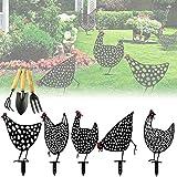 MOZX Juego de 5 pollos, decoración de jardín antioxidante, con 3 herramientas, para exteriores, jardín, patio trasero, estacas de metal, regalo para recuerdo de casa