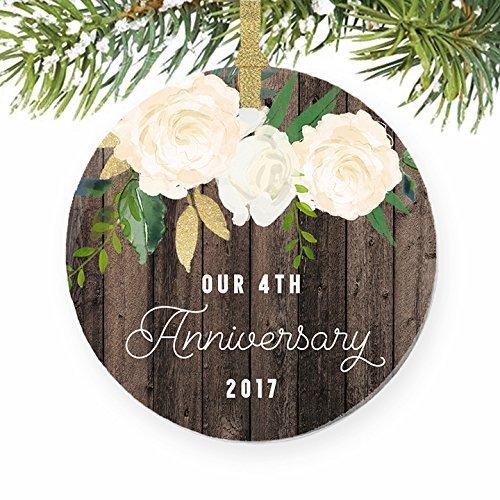 Weihnachten Ornament Handwerk Unsere 4. Hochzeitstag vierten Jahr Married Weihnachten Geschenk Ehe Paar ihm ihre Weihnachtsbaum Dekorationen Jahrestag Geschenk
