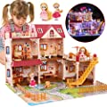 """CUTE STONE 5 Rooms Huge Dollhouse with 2 Dolls and Colorful Light, 26"""" x 23"""" x 20"""" Dream House Doll House Dreamhouse Gift for Girls from CUTE STONE"""