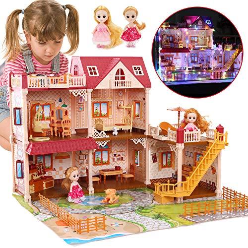 Bonita casa de muñecas de piedra de 5 habitaciones con 2 muñecas y luz colorida, 26.0 x 20.9 x 19.7in Casa de muñecas Casa de sueños para niñas