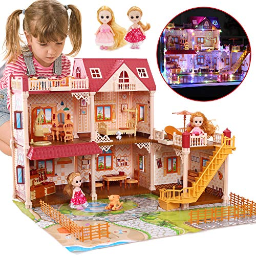 CUTE STONE 5 Rooms Huge Dollhouse with 2 Dolls and Colorful Light, 26' x 23' x 20' Dream House Doll House Dreamhouse Gift for Girls