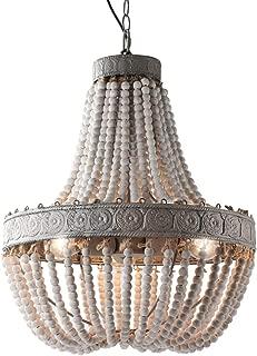 Newrays Wood Beaded Chandelier Pendant Three Lights Gray White Finishing Retro Vintage Antique Rustic Kitchen Ceiling Lamp Light Fixtures