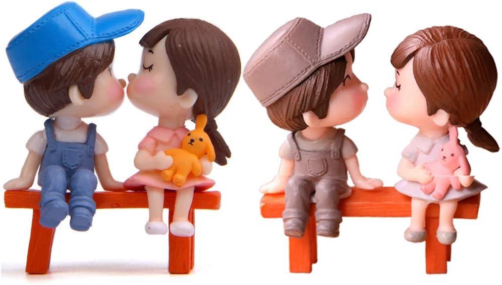 DOYIFun 6 Pcs Miniature Couple Lover Figurines Chair Boy&Girl Kiss Dolls Cake Topper Micro Landscape Ornaments Fairy Garden Craft Terrarium Gift Dollhouse Miniatures
