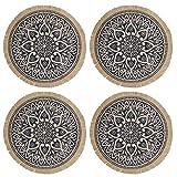 Creative Tops Set di 4 Tovagliette Rotonde in Iuta con Design a Mandala, Blu, 41 cm