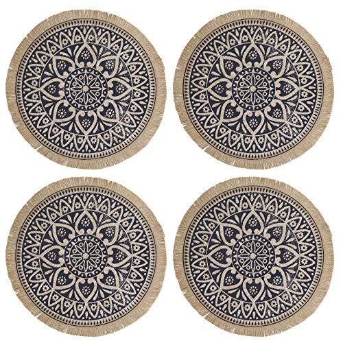 Creative Tops Juego de 4 Salvamanteles Redondos de Arpillera con Diseño de Mandala 41cm Azul