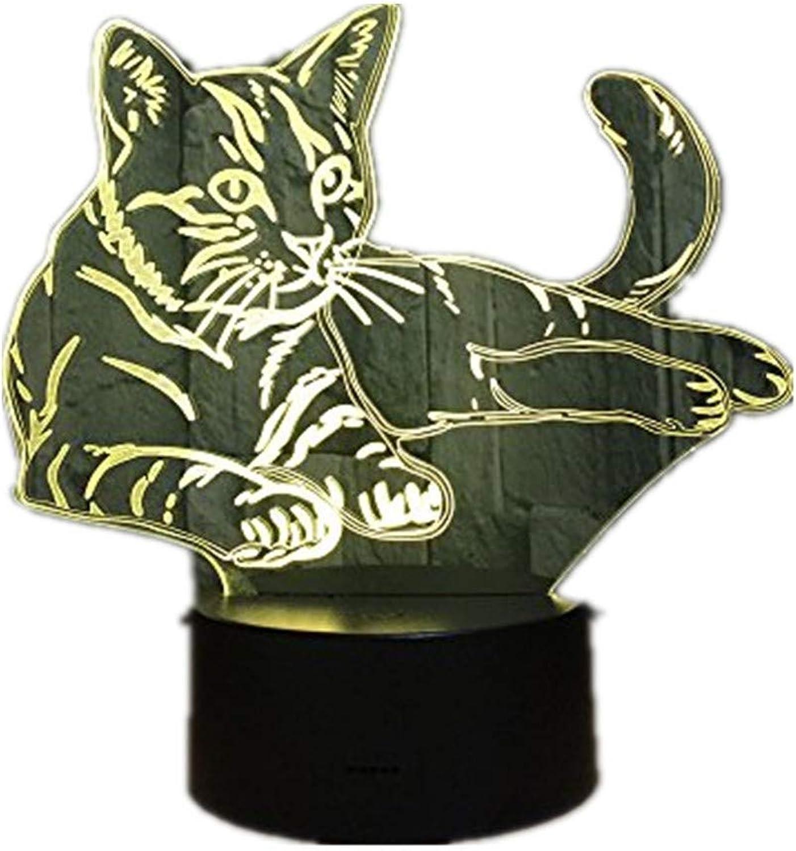 ZHJXQD 3D dekoratives Nachtlicht Liegen gemütliche Katze 3D LED Lampe Acryl Nachtlicht USB Touch Licht Kinder niedlich Nacht Schlafzimmer Licht Freizeit 7 Bunte Geschenke Emotionales Nachtlicht