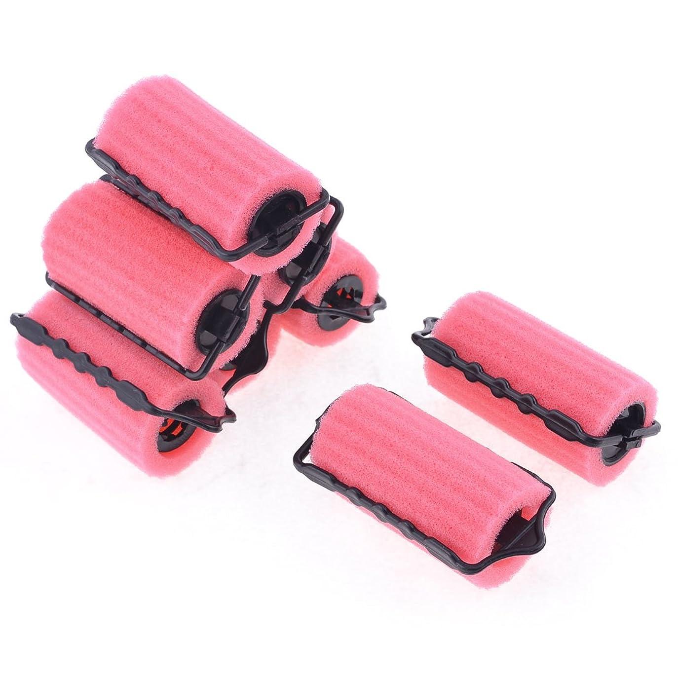 拾う領域掃除スポンジローラー髪カーラー 巻きカーラー プラスチック製スボンジ製ピンク 女性用 8個入り