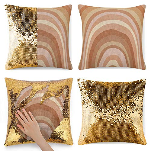 Tamengi Sequin Pillow Cover, Brown Round Wheel, Zipper Pillowslip Pillowcase, Decorations for Sofas, Armchairs, Beds, Floors, Cars