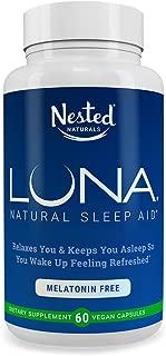 Luna Melatonin-Free | 60 Capsules | Naturally Sourced Sleep Aid Without Melatonin | Valerian, Chamomile Extract, Lemon Balm, Herbs & More | Gentle Herbal Sleeping Aid Pill | Vegan, Non-GMO Supplement