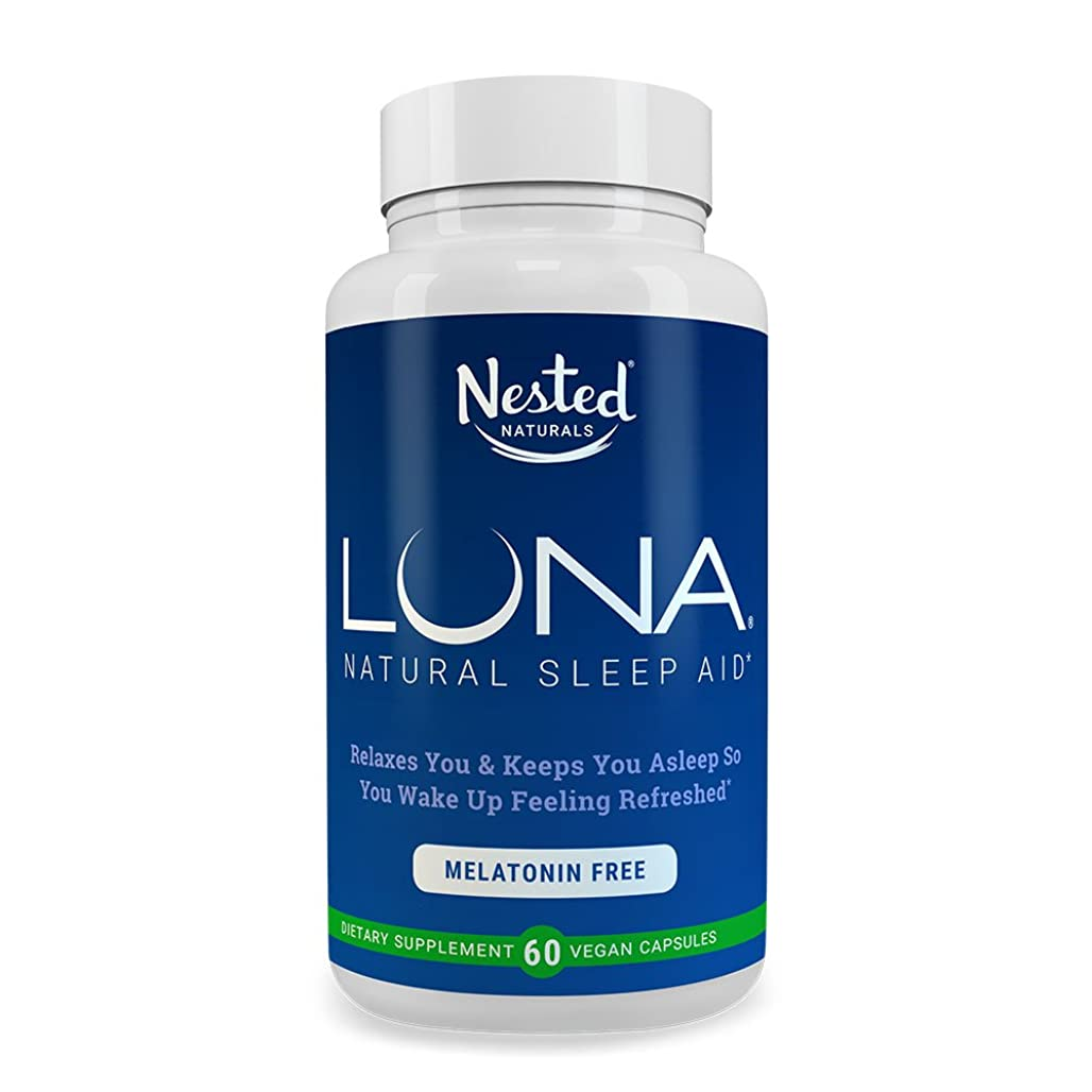スイッチカウントピストルLUNA Melatonin-Free | 60 Herbal Capsules | Non Habit Forming Sleep Formula with Valerian Root, L-Theanine, Chamomile Extract | Natural Sleeping Aid | Relax & Calm Stress | Herbs Based Supplement Pills