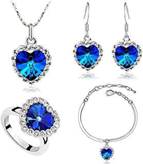 Titanic Heart of The Ocean Necklace Earrings Bracelet and Rings Jewelry Set, Sterling Silver Blue Sapphire Crystal Necklace Pendants Wedding Prom Jewelry
