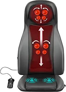 Giantex Shiatsu Back Neck Massager with Heat, Full Back Kneading Shiatsu & Rolling, Targeting Massage and Width Adjustment, 3 Hip Vibration, Massage Cushion Chair Pad Relieve Muscle Pain More