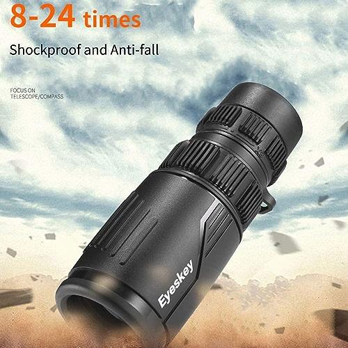 Tik 8-24X42 HD Monoculaire étanche à La Brume Télescope Puissant Lumineux Optique Portée Camping Randonnée Jumelle Sombre