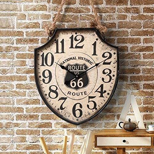 Wall Clock WTL American Vintage Bar Wanduhr Kreative Wanduhren Loft Industrial Restaurant Wohnzimmer Mute Persönlichkeit Uhren (Farbe : A)