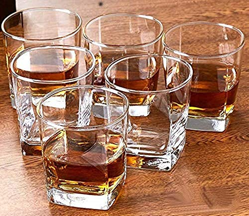 VOEUX Whiskey Bar Glasses Old Fashioned Cocktail Tumblers 300 ml Square Glass (Transparent) – Set of 6 pcs