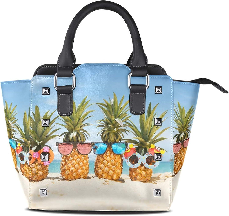 My Little Nest Women's Top Handle Satchel Handbag Tropical Beach Funny Pineapples Ladies PU Leather Shoulder Bag Crossbody Bag