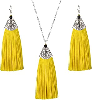Tuoke-peri Long Tassel Necklace Bohemian Earrings StatementAntique Jewelry Sets with Long Adjustable Chain