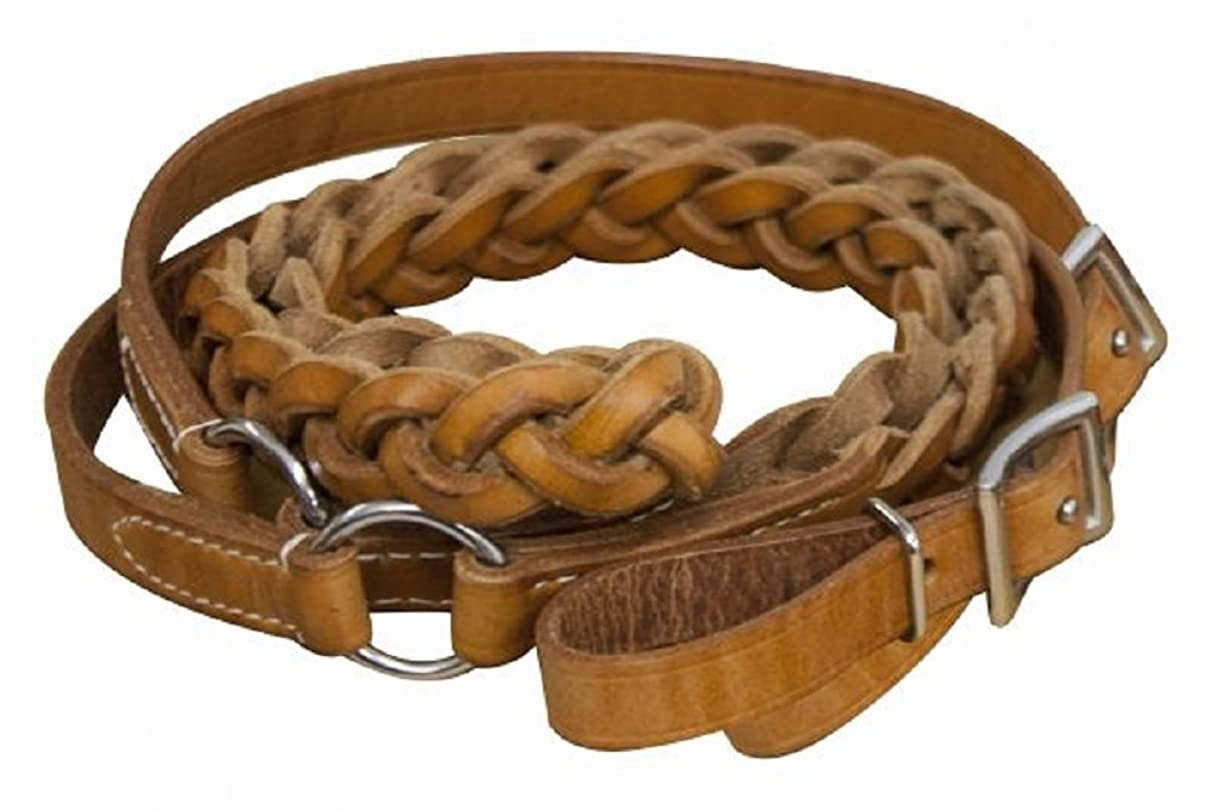 Showman 7' Argentina Cow Rings Braided Medium Oil Leather Contest Roping Reins